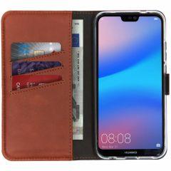 Selencia Custodia Portafoglio in Vera Pelle Huawei P20 Lite - Marrone scuro