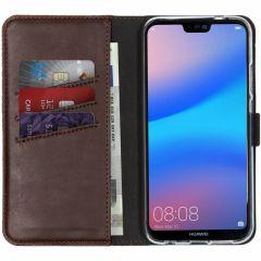 Selencia Custodia Portafoglio in Vera Pelle Huawei P20 Lite - Marrone