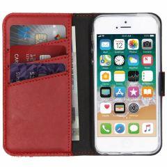 Selencia Custodia Portafoglio in Vera Pelle iPhone SE / 5 / 5s - Rosso