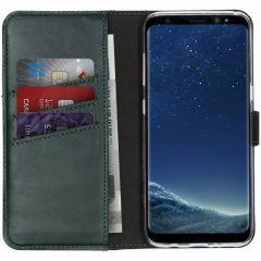 Selencia Custodia Portafoglio in Vera Pelle Samsung Galaxy S8 - Verde