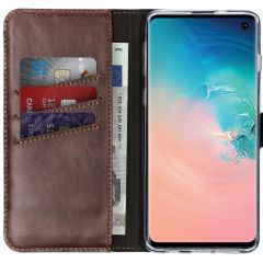 Selencia Custodia Portafoglio in Vera Pelle Samsung Galaxy S10 - Marrone