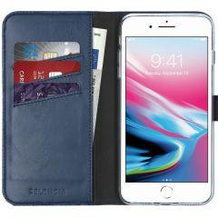Selencia Custodia Portafoglio in Vera Pelle iPhone 8 Plus / 7 Plus - Blu