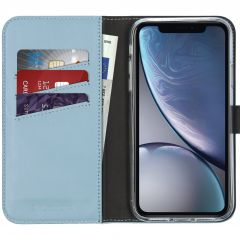Selencia Custodia Portafoglio in Vera Pelle iPhone Xr - Azzurro