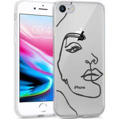 iMoshion Cover Design iPhone SE (2020) / 8 / 7 / 6s - Line Art Woman Black