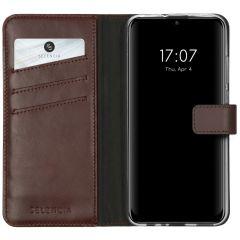 Selencia Custodia Portafoglio in Vera Pelle Huawei P Smart (2020) - Marrone