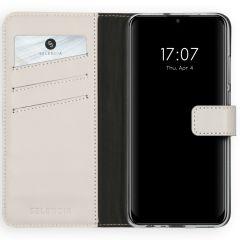 Selencia Custodia Portafoglio in Vera Pelle Huawei P Smart (2020) - Grigio chiaro