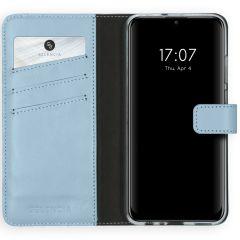 Selencia Custodia Portafoglio in Vera Pelle Huawei P Smart (2020) - Azzurro