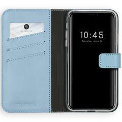 Selencia Custodia Portafoglio in Vera Pelle iPhone 11 - Azzurro