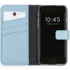 Selencia Custodia Portafoglio in Vera Pelle iPhone SE (2020) / 8 / 7 / 6(s) - Azzurro