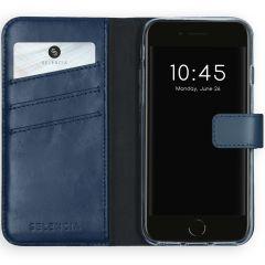 Selencia Custodia Portafoglio in Vera Pelle iPhone SE (2020) / 8 / 7 / 6(s) - Blu