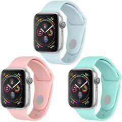 iMoshion Multipack Cinturino in Silicone Apple Watch 1 t/m 6 / SE - 38/40mm - Rosa / Blu / Verde