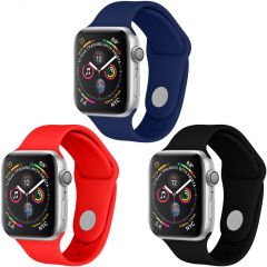 iMoshion Multipack Cinturino in Silicone Apple Watch 1 t/m 6 / SE - 42/44mm - Nero / Blu / Rosso