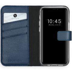 Selencia Custodia Portafoglio in Vera Pelle iPhone 12 Mini - Blu