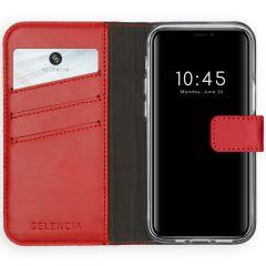 Selencia Custodia Portafoglio in Vera Pelle iPhone 12 Mini - Rosso