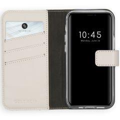 Selencia Custodia Portafoglio in Vera Pelle iPhone 12 Mini - Grigio chiaro