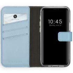 Selencia Custodia Portafoglio in Vera Pelle iPhone 12 Mini - Azzurro