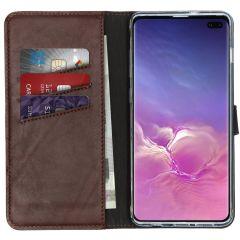Selencia Custodia Portafoglio in Vera Pelle Samsung Galaxy S10 Plus - Marrone
