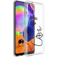 iMoshion Cover Design Samsung Galaxy A31 - Line Art Woman Black