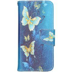 Custodia Portafoglio Flessibile iPhone 12 (Pro) - Blue Butterfly