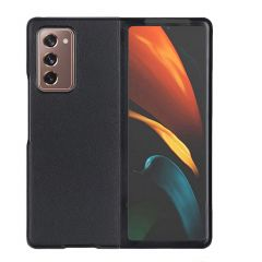 Litchi Shell in Vera Pelle Samsung Galaxy Z Fold2 - Nera