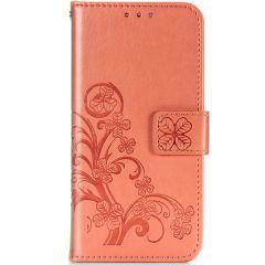Custodia Portafoglio Fiori di Trifoglio Samsung Galaxy A42 - Arancio