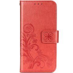 Custodia Portafoglio Fiori di Trifoglio Samsung Galaxy A42 - Rosso
