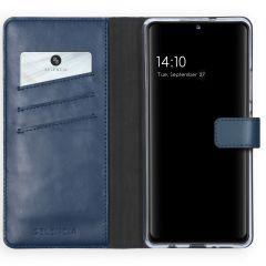 Selencia Custodia Portafoglio in Vera Pelle Samsung Galaxy A42 - Blu