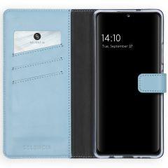 Selencia Custodia Portafoglio in Vera Pelle Samsung Galaxy A42 - Azzurro