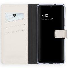 Selencia Custodia Portafoglio in Vera Pelle Samsung Galaxy A42 - Grigio chiaro