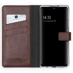 Selencia Custodia Portafoglio in Vera Pelle Samsung Galaxy A42 - Marrone