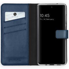 Selencia Custodia Portafoglio in Vera Pelle Samsung Galaxy S20 FE - Blu