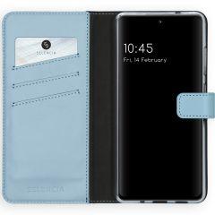 Selencia Custodia Portafoglio in Vera Pelle Samsung Galaxy S20 FE - Azzurro