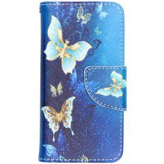 Custodia Portafoglio Flessibile iPhone SE / 5 / 5s - Blue Butterfly