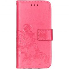 Custodia Portafoglio Fiori di Trifoglio Samsung Galaxy A20e - Fucsia