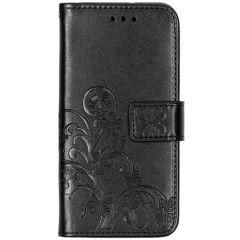 Custodia Portafoglio Fiori di Trifoglio Samsung Galaxy A20e - Nero