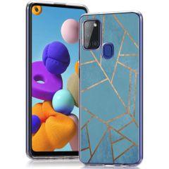 iMoshion Cover Design Samsung Galaxy A21s - Blue Graphic