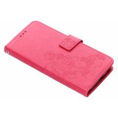Custodia Portafoglio Fiori di Trifoglio Motorola Moto G6 Plus - Rosa