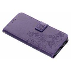 Custodia Portafoglio Fiori di Trifoglio Motorola Moto G6 Plus - Viola
