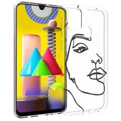 iMoshion Cover Design Samsung Galaxy M31 - Line Art Woman Black