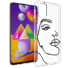 iMoshion Cover Design Samsung Galaxy M31s - Line Art Woman Black