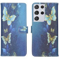 iMoshion Design Custodia a Libro Morbida Samsung Galaxy S21 Ultra - Blue Butterfly