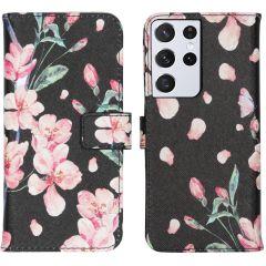 iMoshion Design Custodia a Libro Morbida Samsung Galaxy S21 Ultra - Blossom Watercolor Black