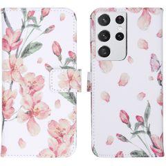 iMoshion Design Custodia a Libro Morbida Samsung Galaxy S21 Ultra - Blossom Watercolor