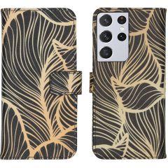 iMoshion Design Custodia a Libro Morbida Samsung Galaxy S21 Ultra - Golden Leaves