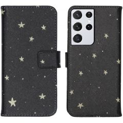 iMoshion Design Custodia a Libro Morbida Samsung Galaxy S21 Ultra - Stars Gold