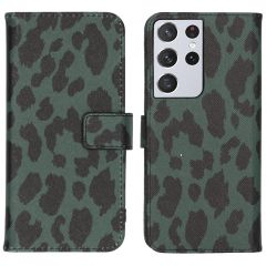 iMoshion Design Custodia a Libro Morbida Samsung Galaxy S21 Ultra - Green Leopard