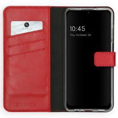 Selencia Custodia Portafoglio in Vera Pelle Samsung Galaxy A12 - Rosso