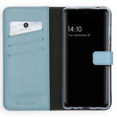 Selencia Custodia Portafoglio in Vera Pelle Samsung Galaxy A72 - Azzurro