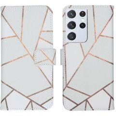 iMoshion Design Custodia a Libro Morbida Samsung Galaxy S21 Ultra - White Graphic