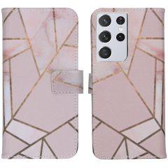 iMoshion Design Custodia a Libro Morbida Samsung Galaxy S21 Ultra - Pink Graphic